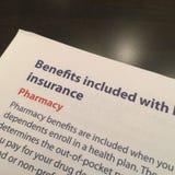 Pharmacy Benefits with Health Plan Stock Image