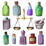 Pharmacy bottles vector vintage medical glass old drug container with chemical liquid medicine and scales illustration royalty free illustration