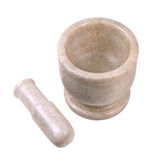 Pharmacy bowl. Ceramic mortar and pestle isolated on a white background Stock Image