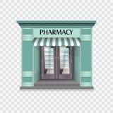 Pharmacy building vector illustration. Realistic pharmacy building vector illustration on checked background Royalty Free Stock Photo