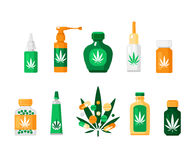 Pharmacy Cannabis Composition. Colored pharmacy cannabis composition in flat style with different types of drugs and methods of using vector illustration Stock Photo