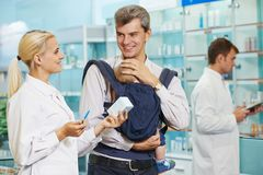 Pharmacy chemist, father and child in drugstore Royalty Free Stock Images