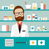 Pharmacy chemist man standing in drugstore. Flat vector stock illustration
