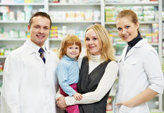 Pharmacy chemist, mother and child in drugstore Royalty Free Stock Images
