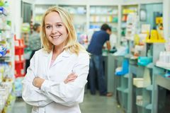 Pharmacy chemist portrait in drugstore stock image