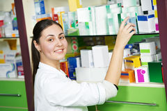 Pharmacy chemist woman in drugstore Stock Image