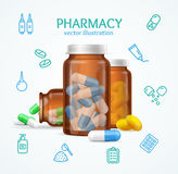 Pharmacy Concept with Pills Capsules in Medical Glass Bottle. Vector Royalty Free Stock Photography