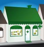 Pharmacy. Convenience store. Urban shop stock illustration