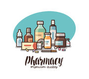Pharmacy, drugstore label. Medical supplies, bottles liquids, pills, capsules icon or logo. Lettering vector. Illustration isolated on white background Stock Photos