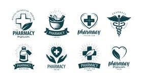 Pharmacy, drugstore logo or label. Medicine, medication symbol. Vector illustration. Pharmacy, drugstore logo or label. medicine, medication symbol vector stock illustration