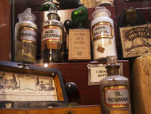 Pharmacy exhibit in the Museum in the City Museum in Lancaster England in the Centre of the City Stock Images