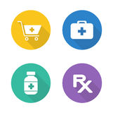 Pharmacy flat design icons set Royalty Free Stock Image
