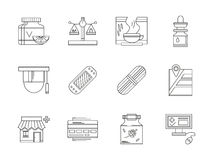 Pharmacy flat line icons set Stock Images