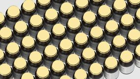 Pharmacy glass bottles with generic vitamin C tablets and fictional logo. Pharmaceutical industrial production related