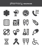 Pharmacy. Healthcare flat icons. Black Stock Photos