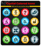 Pharmacy icon set. Pharmacy crystal color icons for your design Royalty Free Stock Image