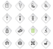 Pharmacy icon set. Pharmacy flat web icons for user interface design Royalty Free Stock Image