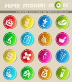 Pharmacy icon set. Pharmacy icons on color paper stickers for your design Stock Photography