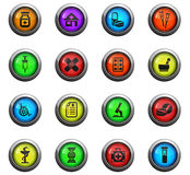 Pharmacy icon set. Pharmacy icons on color round glass buttons for your design Stock Photography