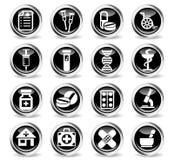 Pharmacy icon set. Pharmacy icons on stylish round chromed buttons Stock Photos