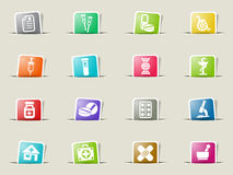 Pharmacy icon set. Pharmacy web icons on color paper bookmarks Stock Photo
