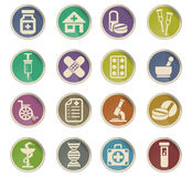 Pharmacy icon set. Pharmacy web icons on color paper labels Stock Photo
