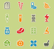 Pharmacy icon set. Pharmacy web icons on color paper stickers for user interface Stock Image
