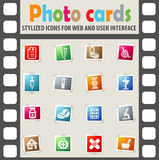 Pharmacy icon set. Pharmacy web icons on color photo cards for user interface Royalty Free Stock Photos