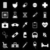 Pharmacy icons on black background Royalty Free Stock Photo