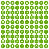 100 pharmacy icons hexagon green. 100 pharmacy icons set in green hexagon isolated vector illustration Royalty Free Stock Photography