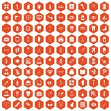 100 pharmacy icons hexagon orange Royalty Free Stock Images