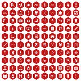 100 pharmacy icons hexagon red. 100 pharmacy icons set in red hexagon isolated vector illustration Stock Image