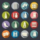 Pharmacy icons. Pharmacy items  icon set Royalty Free Stock Photos