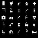 Pharmacy icons with reflect on black background Royalty Free Stock Photos