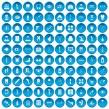 100 pharmacy icons set blue Stock Photo