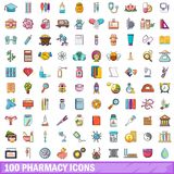 100 pharmacy icons set, cartoon style. 100 pharmacy icons set. Cartoon illustration of 100 pharmacy vector icons isolated on white background Royalty Free Stock Images