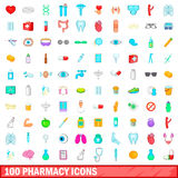 100 pharmacy icons set, cartoon style Stock Photos