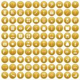 100 pharmacy icons set gold. 100 pharmacy icons set in gold circle isolated on white vector illustration Royalty Free Stock Image