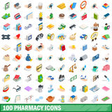 100 pharmacy icons set, isometric 3d style. 100 pharmacy icons set in isometric 3d style for any design vector illustration Royalty Free Stock Image