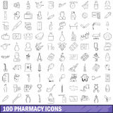 100 pharmacy icons set, outline style. 100 pharmacy icons set in outline style for any design vector illustration Stock Photos