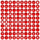 100 pharmacy icons set red. 100 pharmacy icons set in red circle isolated on white vector illustration vector illustration