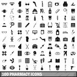 100 pharmacy icons set, simple style. 100 pharmacy icons set in simple style for any design vector illustration Royalty Free Stock Image