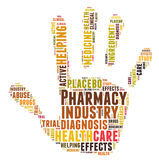 Pharmacy industry word cloud. Shaped as a hand Stock Photo