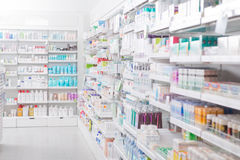 Pharmacy Interior. With blurred background Royalty Free Stock Photography