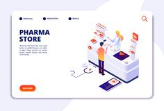 Pharmacy isometric concept. Doctor pharmacist and patient in drugstore. Medication and healthcare vector landing page vector illustration