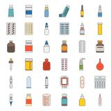 Pharmacy item filled outline icon pixel perfect. Pharmacy item, such as medicine, antibiotic, plaster, cough syrup, nasal spray, condom, dropper, cotton bud Stock Photography