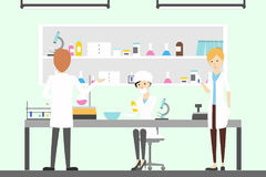 Pharmacy lab with chemists. People testing and analyzing new data Royalty Free Stock Photos