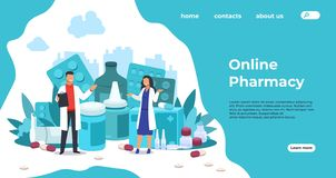 Free Pharmacy Landing Page. Medical Support And Drugs Addiction Concept, Blisters With Pills And Capsules. Vector Pharmacy Stock Photo - 162838940