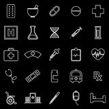 Pharmacy line icons on black background Stock Photography