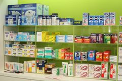 Pharmacy - a lot of drugs in the shelf Royalty Free Stock Image